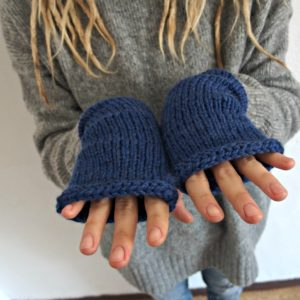 blue alpaca fingerless gloves