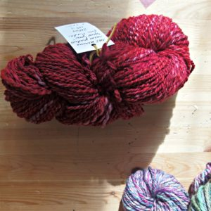 handspun spiral yarn with Malabrigo Cereza